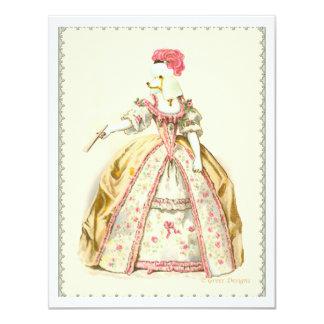 """Moda blanca del francés de Marie Antonieta del Invitación 4.25"""" X 5.5"""""""