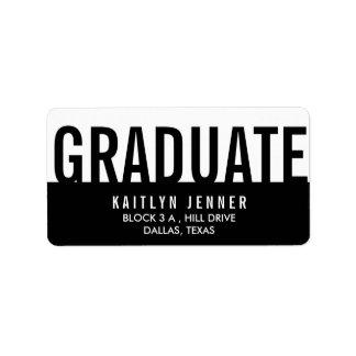 Moda blanco y negro de la tipografía graduada etiquetas de dirección