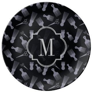 Moda blanco y negro del pelo platos de cerámica