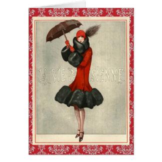 Moda bonita del vintage/tarjeta de felicitación de