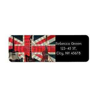 moda BRITÁNICA del Union Jack de la guitarra Etiqueta De Remite
