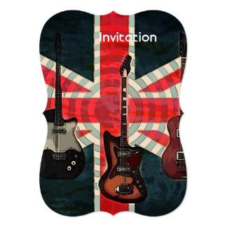 """moda BRITÁNICA del Union Jack de la guitarra Invitación 5"""" X 7"""""""