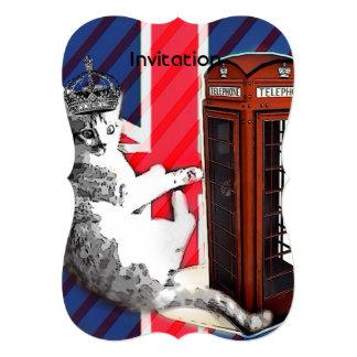 """moda británica moderna del gato de Londres del Invitación 5"""" X 7"""""""