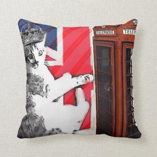 moda británica moderna del gato de Londres del Uni Cojin