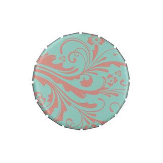 Moda caprichosa del coral y de la menta floral frascos de caramelos