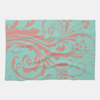Moda caprichosa del coral y de la menta floral toallas de cocina