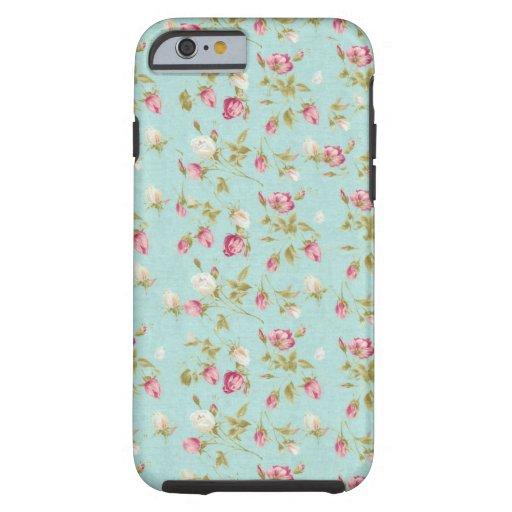 Moda color de rosa lamentable azul de los rosas funda de iPhone 6 tough