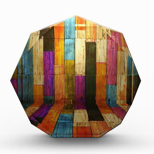 Moda colorida del collage de madera rústico elegan