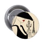 Moda con clase del vintage en París Pin Redondo 5 Cm
