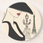 Moda con clase del vintage en París Posavasos Diseño