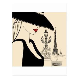 Moda con clase del vintage en París Postal