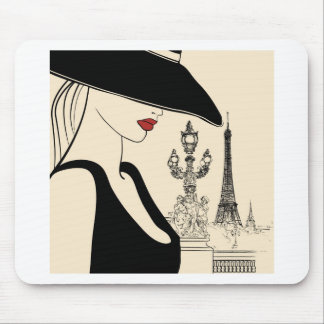 Moda con clase del vintage en París Alfombrilla De Raton