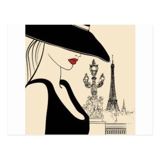 Moda con clase del vintage en París Tarjeta Postal