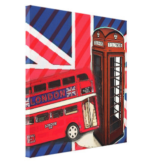 moda de británicos de la cabina de teléfono del au impresión en lona