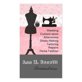Moda de costura del arte caliente floral rosado tarjetas de visita