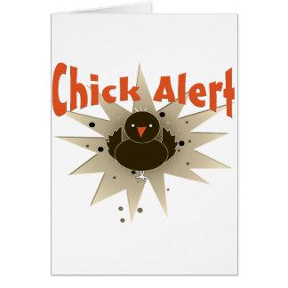 Moda de la alarma del polluelo tarjeta de felicitación