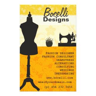 Moda de la costurera tarjetón