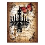 moda de la mariposa de la lámpara del vintage del postales