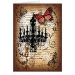moda de la mariposa de la lámpara del vintage del tarjeta de felicitación
