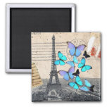 moda de la mariposa de la torre de París Effiel Imán Cuadrado