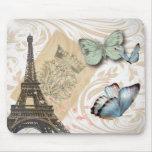 Moda de la mariposa de la torre de París Effiel Tapete De Ratón