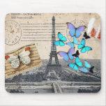 moda de la mariposa de la torre de París Effiel Tapetes De Ratón