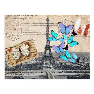 moda de la mariposa de la torre de París Effiel Tarjetas Postales