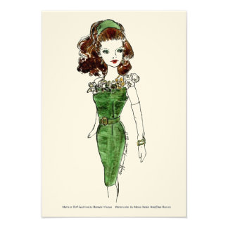 Moda de la muñeca de Matisse - guisante de olor Invitacion Personalizada