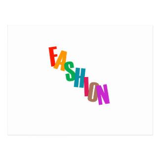 Moda de la palabra en letras coloridas postal