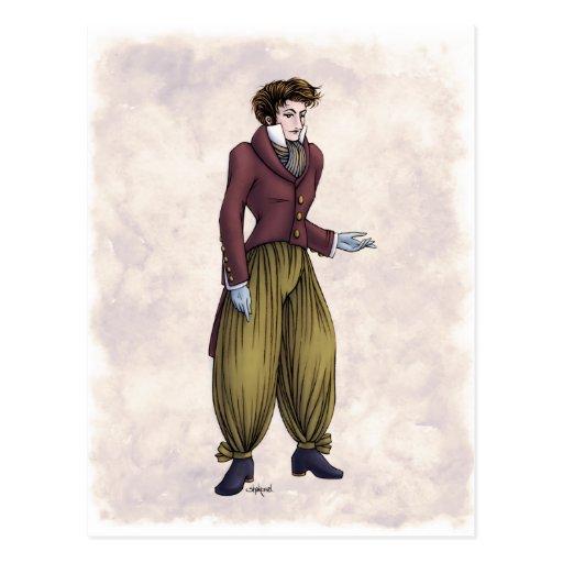 Moda de la regencia - caballero #6 - postal