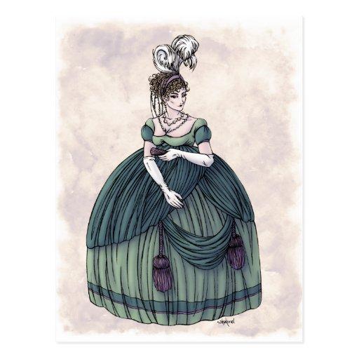 Moda de la regencia - señora #4 - postal