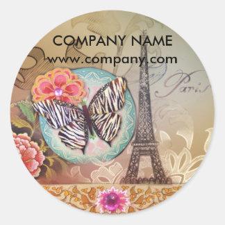 moda de la torre Eiffel de París de la mariposa Pegatina Redonda
