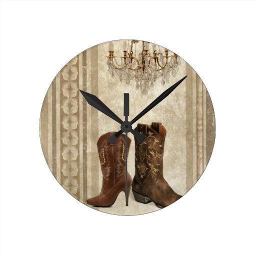 Moda de las botas de vaquero del país occidental reloj redondo mediano