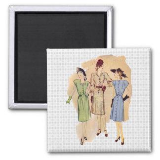 Moda de los años 40 del vintage imán cuadrado