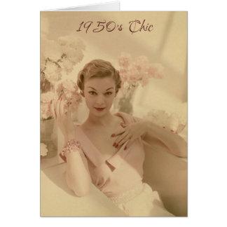 moda de los años 50 y aún tarjeta de cumpleaños