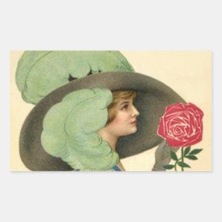 Moda de moda de la señora gorra del vintage del rectangular pegatinas