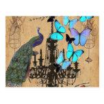moda de París de la mariposa de pavo real del vint Tarjeta Postal