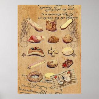Moda de París de las galletas del vintage de la te Póster