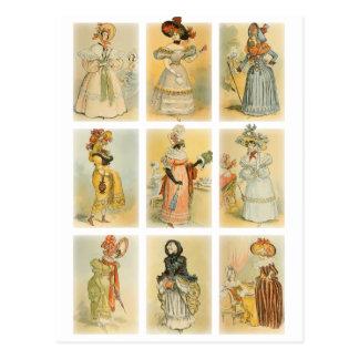 Moda de París del vintage (décimo octavo y siglo X Tarjetas Postales