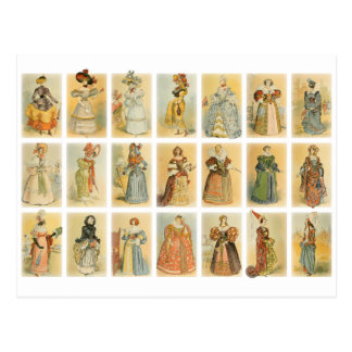 Moda de París del vintage (Edades Medias al siglo  Postal