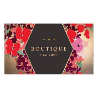 Moda del boutique del oro colorido y elegante flor plantilla de tarjeta personal