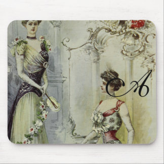 Moda del francés del vintage - blanco y vestido alfombrilla de ratón