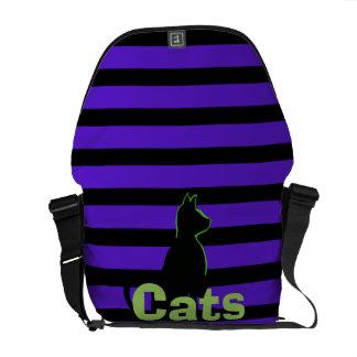 Moda del gato negro de los gatos del arte pop de bolsas de mensajería