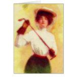 Moda del golf de la vintage mujer felicitaciones