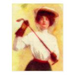 Moda del golf de la vintage mujer tarjeta postal