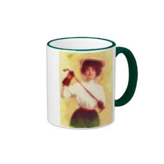 Moda del golf de la vintage mujer tazas de café