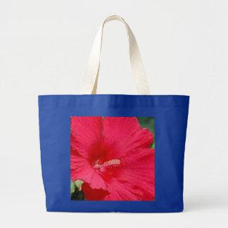 Moda del hibisco del rojo cereza bolsa de tela grande