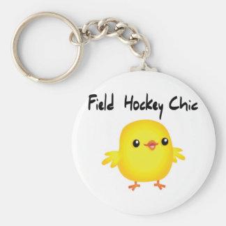 Moda del hockey hierba llavero redondo tipo pin