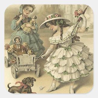 Moda del mascota y de las muñecas del viaje del pegatina cuadrada