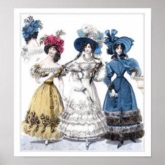 Moda del siglo XIX: Febrero de 1829 Poster
